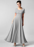 Light Gray Maxi Dress with Ruffled Top and Wide Waist Yoke