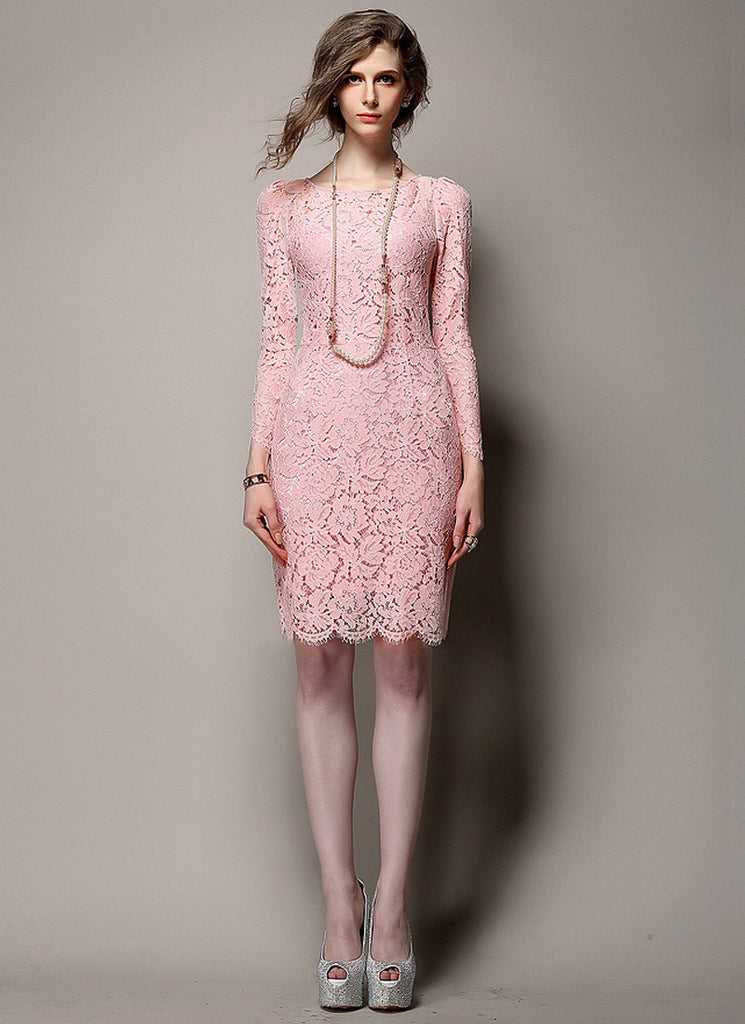Pink Lace Sheath Mini Dress with Scalloped Hem and Eyelash Details