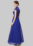 Blue Lace Chiffon Evening Dress with Stand Collar and Cap Sleeves