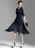 Asymmetric Navy Lace Chiffon Midi Dress with Layered V Neck