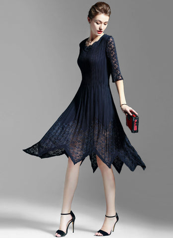 Asymmetric Navy Lace Chiffon Midi Dress with Layered V Neck MD13