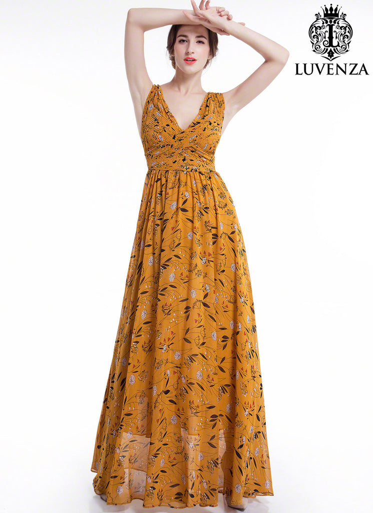 Sleeveless Mustard Yellow Floral Maxi Evening Dress With V Neck