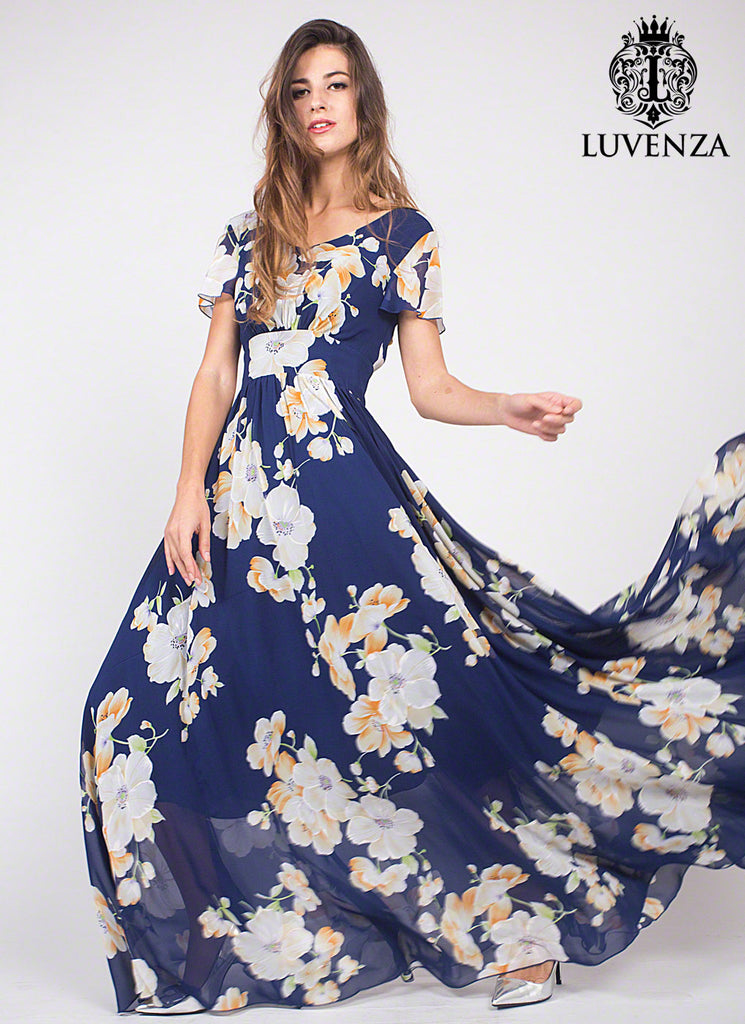 bb5a5c4f7f85 Dark Blue Chiffon Maxi Length Evening Dress with Large White Floral Print