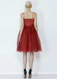 Maroon Satin Tulle Mini Dress with Spaghetti Straps