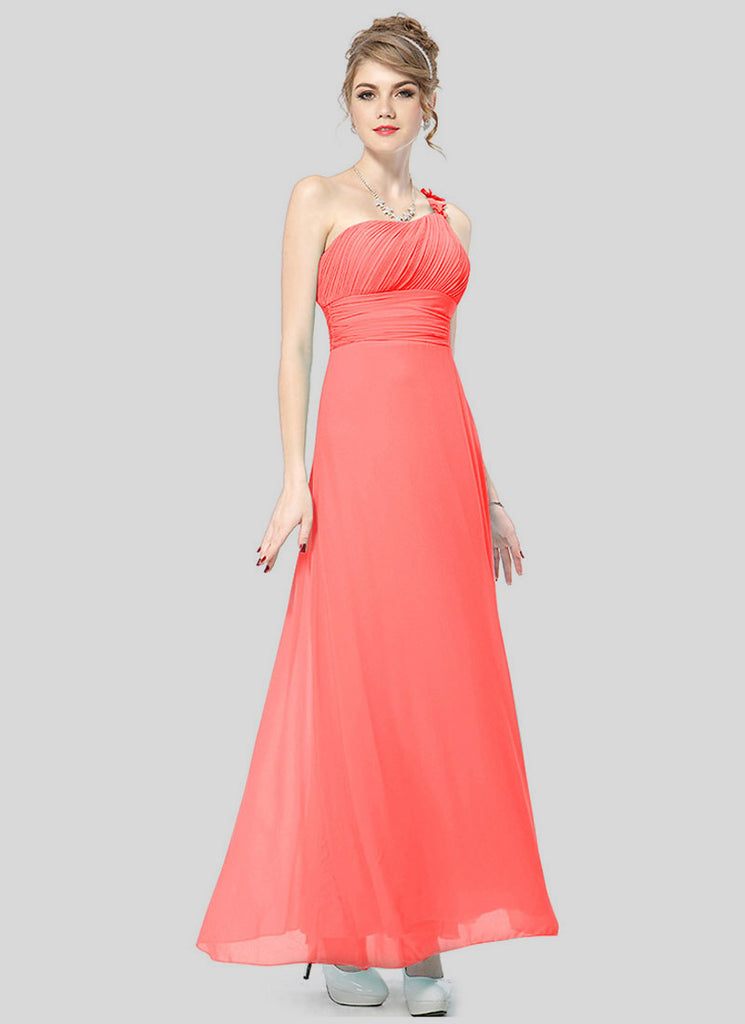 One Shoulder Light Coral Maxi Dress with Ruched Top and Waist