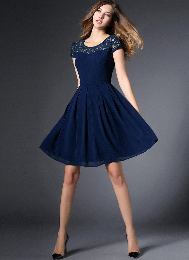 Navy Lace Chiffon Mini Fit and Flare Dress with Cap Sleeves