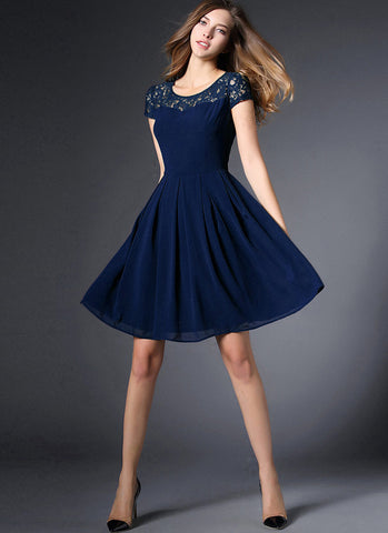 Navy Lace Chiffon Mini Fit and Flare Dress with Cap Sleeves RD560