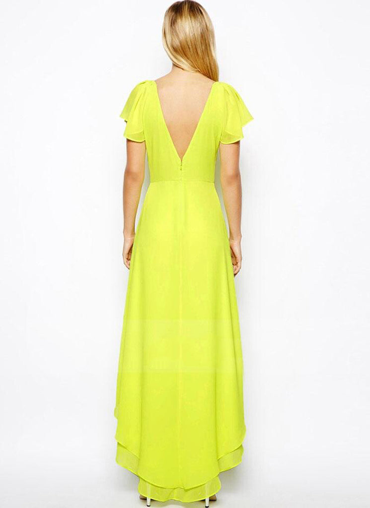 ae4ad297016d Fluorescent Yellow Green Hi Low Hem Chiffon Dress with V Neck V Back and  Flutter Sleeves