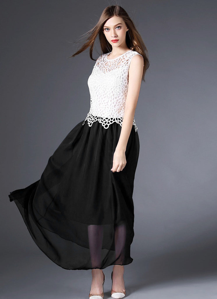 Black and White Maxi Dress with White Lace Peplum Top