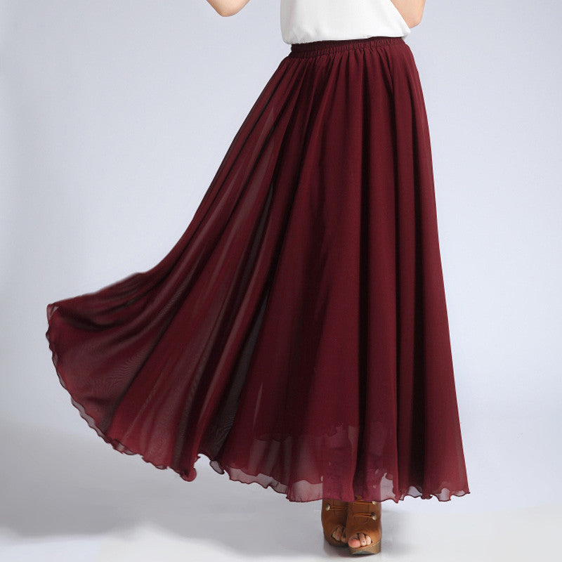 34967baac Brown Red Chiffon Maxi Skirt with Extra Wide Hem - Long Maroon ...