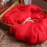 Red Silk Chiffon Scarf - True Red Mulberry Silk Scarf SS13
