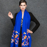 Blue Wool Scarf - Lightweight Wool Embroidery Scarf - Blue Wool Embroidery Scarf  - WS3