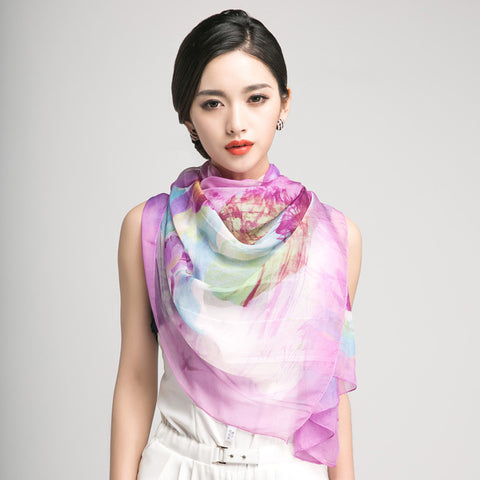 Light Purple Silk Chiffon Scarf with Oriental Lotus Print - Large Violet Silk Georgette Scarf Shaw PS3-3