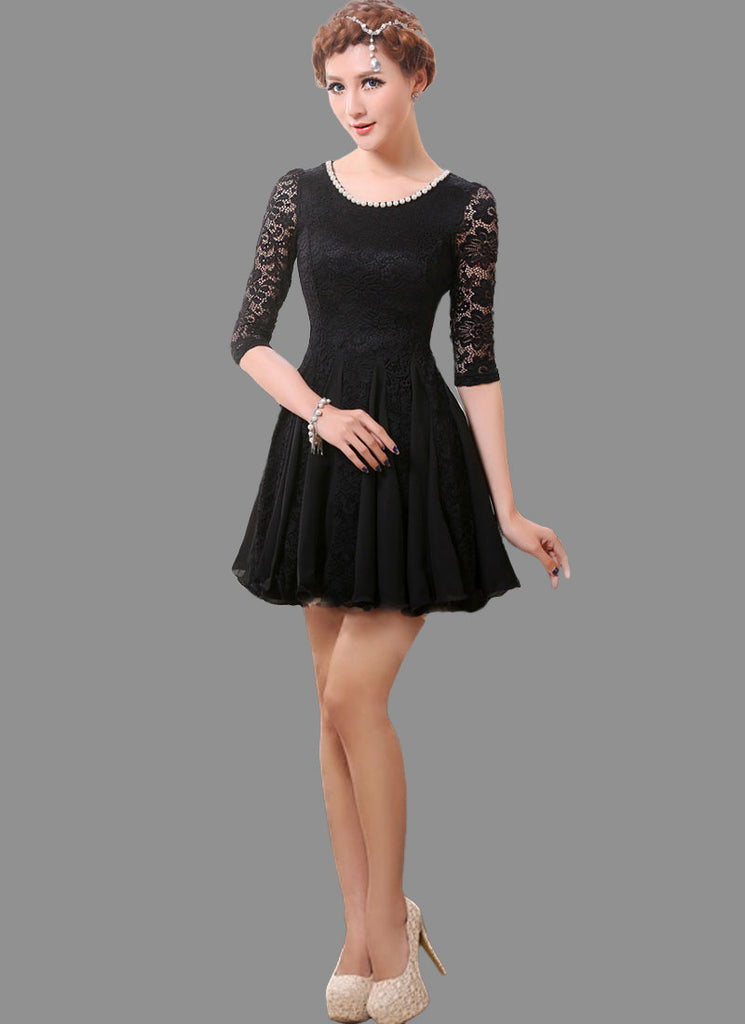 Black Lace Fit and Flare Mini Dress with Beaded Neckline