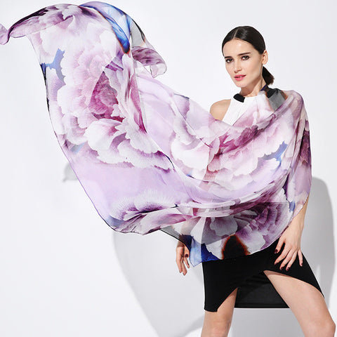 Digital Printed Silk Chiffon Scarf - Light Purple Silk Scarf with Extra Large Floral Print -PS2-3
