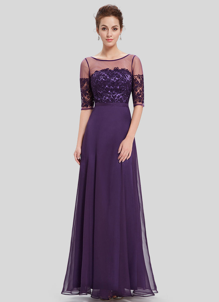 Purple Lace Organza Chiffon Maxi Dress with V Back