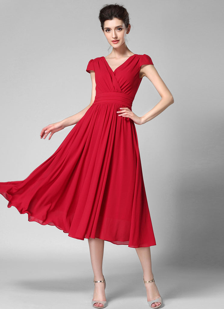 V Neck Crimson Red Midi Chiffon Dress with Cap Sleeves and Ruched Waist Yoke
