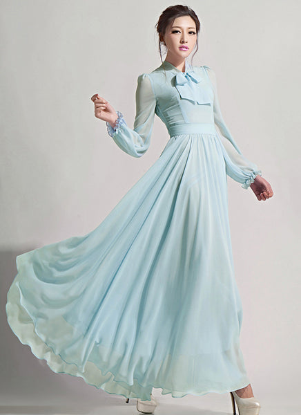 Long Sleeved Light Blue Chiffon Maxi Dress Rm619 Robeplus