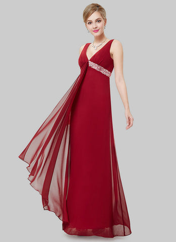 Empire Waisted Maroon Evening Dress with Sequin Details RM496