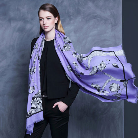 Purple Floral Wool Scarf - Lightweight Floral Wool Scarf - Purple Wool Scarf - WS2