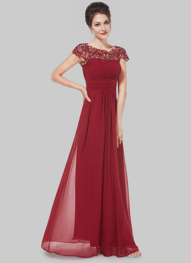 Embellished Open Back Maroon Lace Chiffon Evening Gown