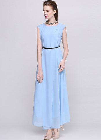 Faux Surplice Light Blue Maxi Dress RM562