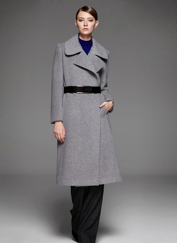 Light Gray Cashmere Wool Coat with Large Collar and Lapel