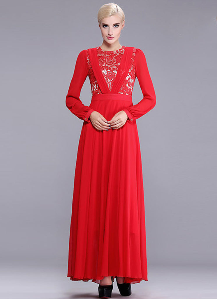 Red Lace Chiffon Maxi Dress with Pleated V Top