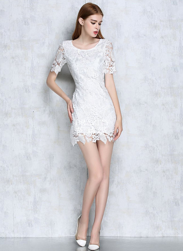 White Lace Sheath Mini Dress with Floral Scalloped Hem and Cuff