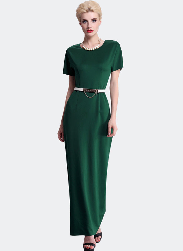 Short Sleeve Green Sheath Maxi Dress