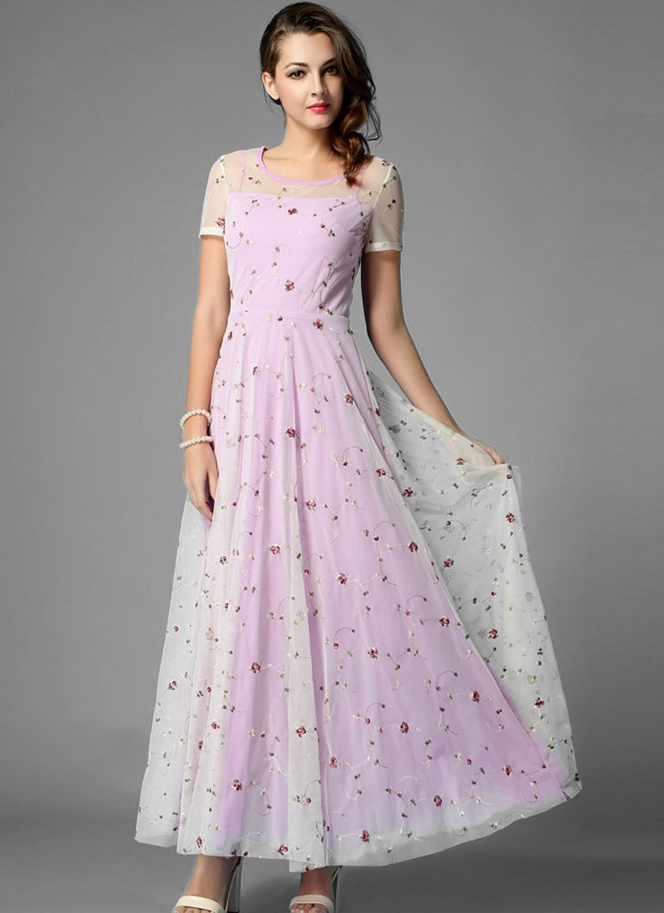 Floral Embroidered Ivory Lace Maxi Dress with Orchid Lining