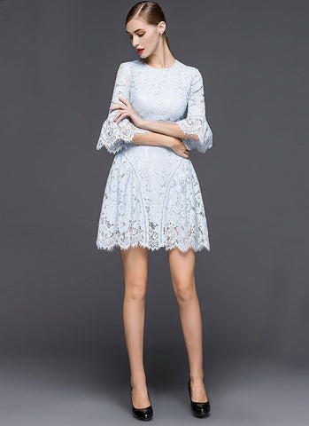 Light Blue Lace Aline Mini Dress with Trumpet Sleeves MN45