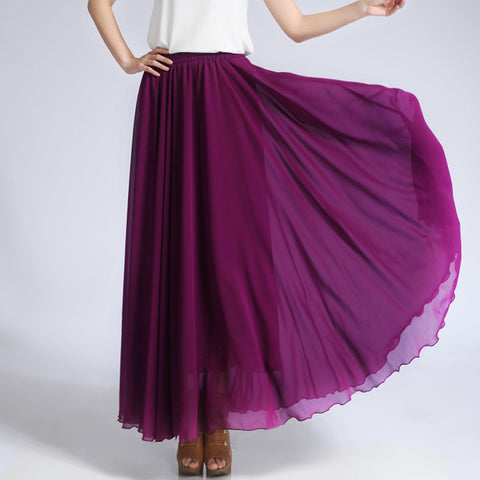 Dark Violet Chiffon Maxi Skirt with Extra Wide Hem - Long Purple Chiffon Skirt - SK5f1