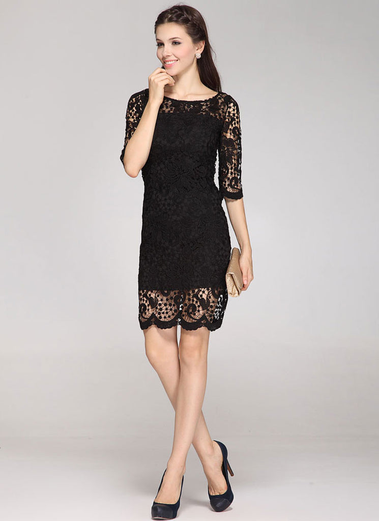 Half Sleeve Black Lace Sheath Mini Dress with Scalloped Hem