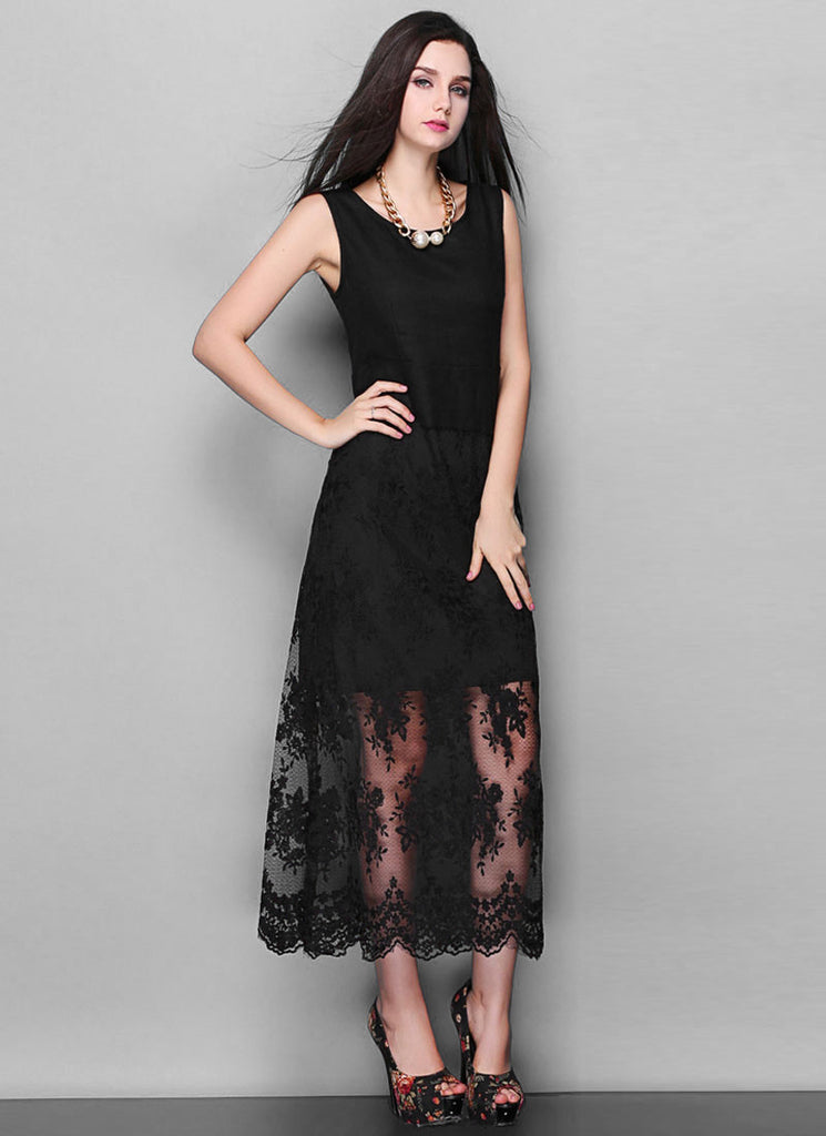 Floral Embroidered Black Lace Maxi Dress with Scalloped Hem