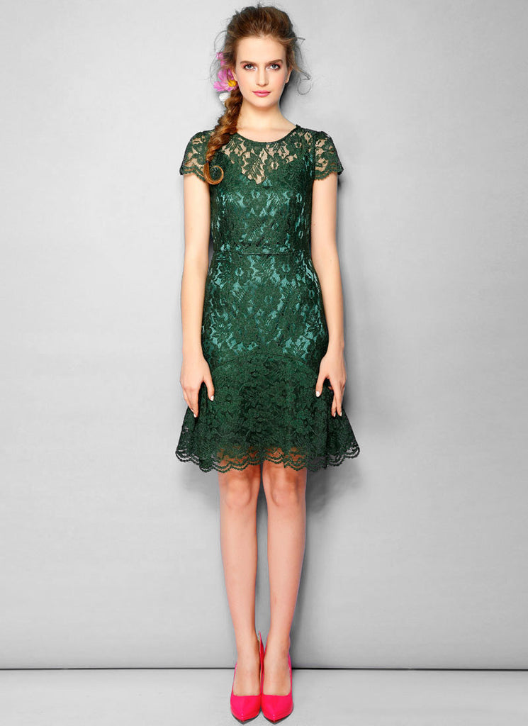 V Back Dark Green Lace Sheath Dress with Flounce Skirt Hem and Cap Sleeves