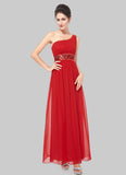 One Shoulder Red Maxi Dress with Sequin Waist Yoke