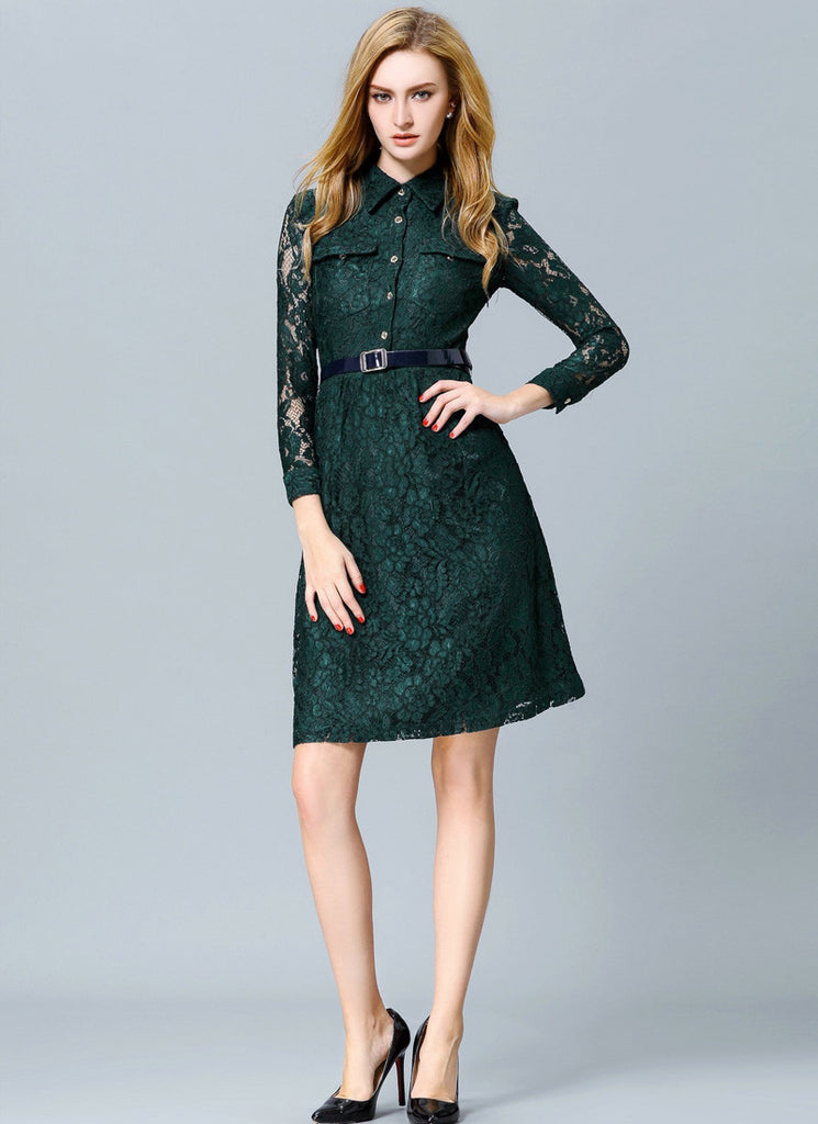 Dark Teal Green Lace Aline Dress with Shirt Top