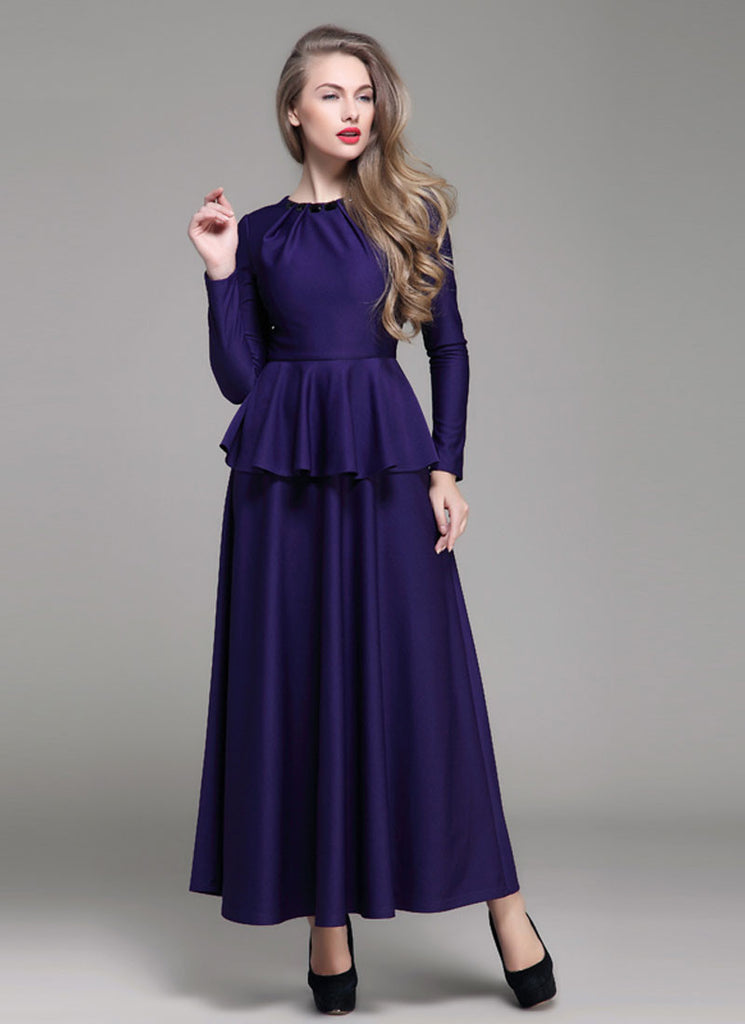 Purple Peplum Maxi Dress with Cabochon Neck