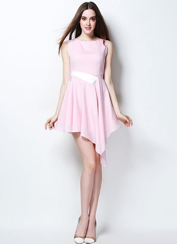 Light Pink Asymmetric Mini Dress with White Waist RD636