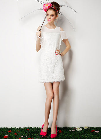 Open Shoulder White Lace Mini Dress RD345