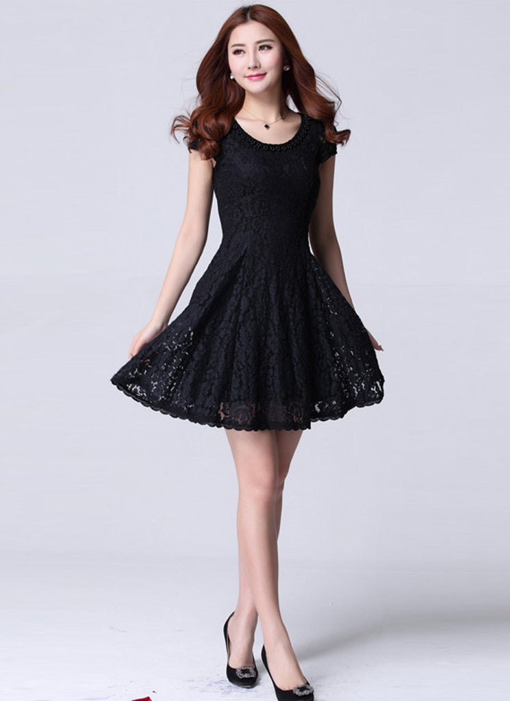 Black Lace Mini Fit and Flare Dress with Beaded Neckline