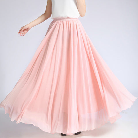 Light Nude Pink Chiffon Maxi Skirt with Extra Wide Hem - Long Dusty Rose Pink Chiffon Skirt - SK5i1