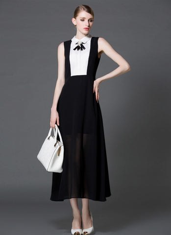 Black Chiffon Maxi Dress with White Shirt Top RM573