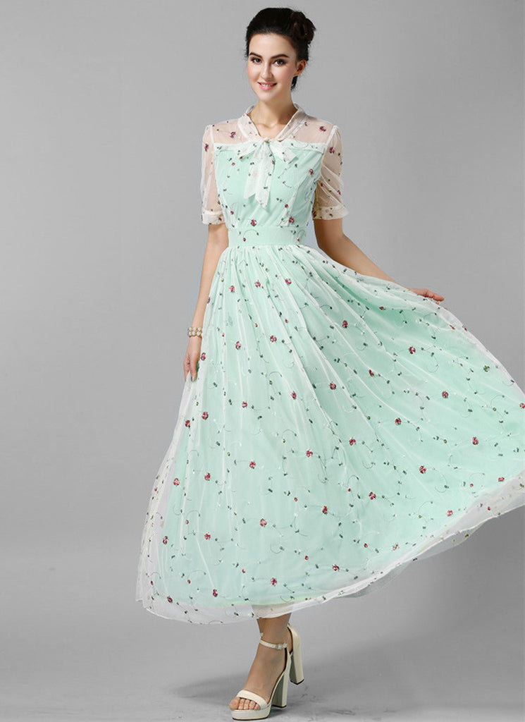 Floral Embroidered Lace Maxi Dress with Aquamarine Lining