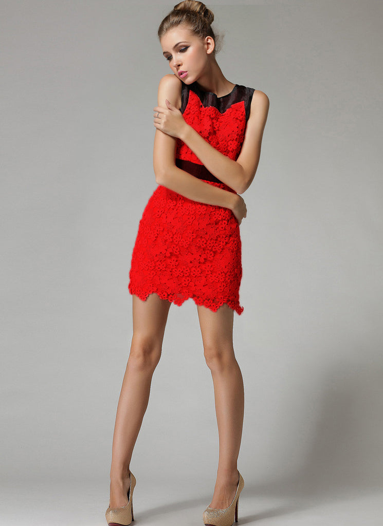 Sleeveless Red Lace Sheath Mini Dress with Asymmetric Floral Scalloped Hem