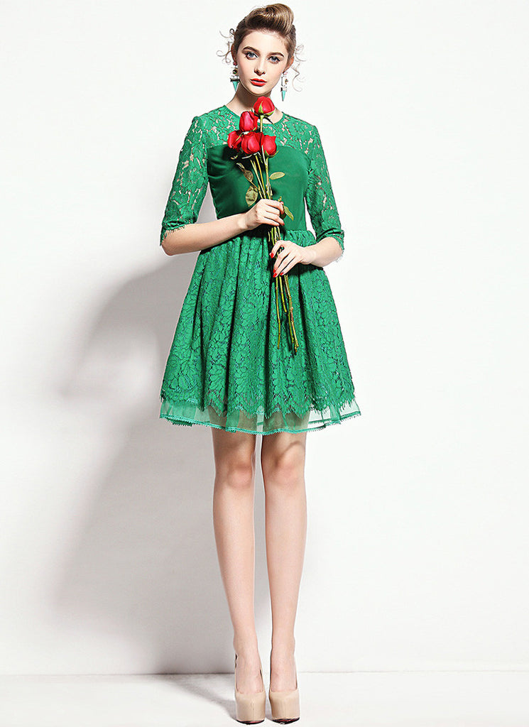 Green Lace Mini Fit and Flare Dress with Layered Skirt and Scalloped Hem