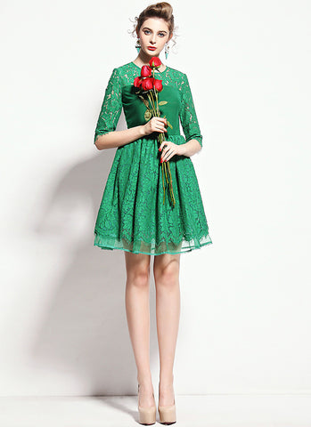 Green Lace Mini Fit and Flare Dress with Layered Skirt and Scalloped Hem RD584