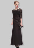 Black Lace Satin Maxi Dress with V Back