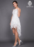 White Organza Hi Lo Hem Dress with Layered Skirt
